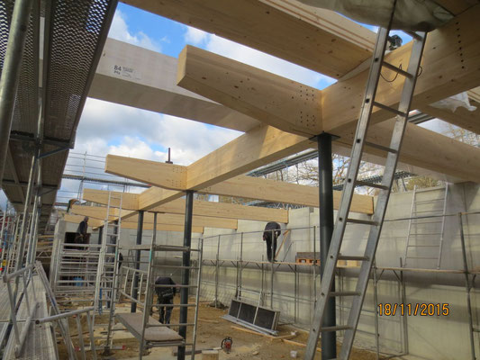 Brettschichtholzträger auf Stahlstützen