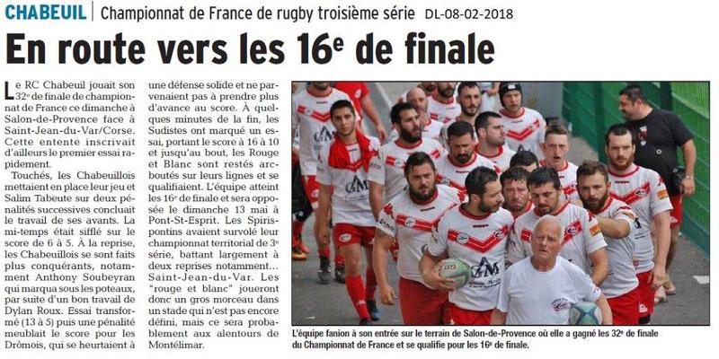 Dauphiné Libéré du 08-05-2018-Rugby- Equipe fanion de Chabeuil