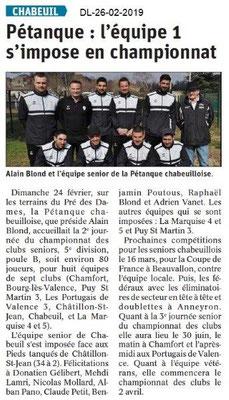 Le Dauphiné Libéré du 26-02-2019- Pétanque