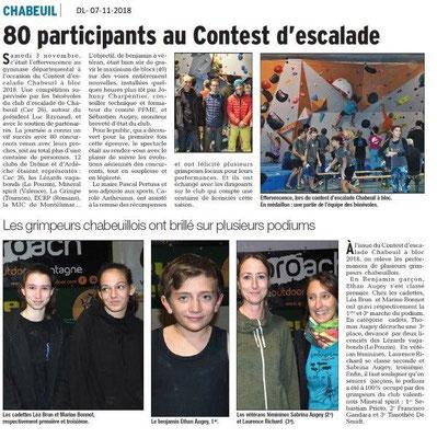 Dauphiné Libéré du 07-11-2018 - Contest escalade à Chabeuil