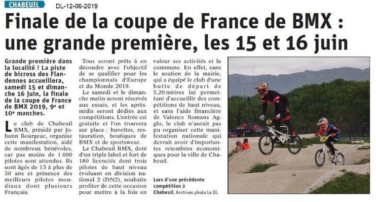 Dauphiné Libéré du 12-06-2019- Coupe de France BMX à Chabeuil.
