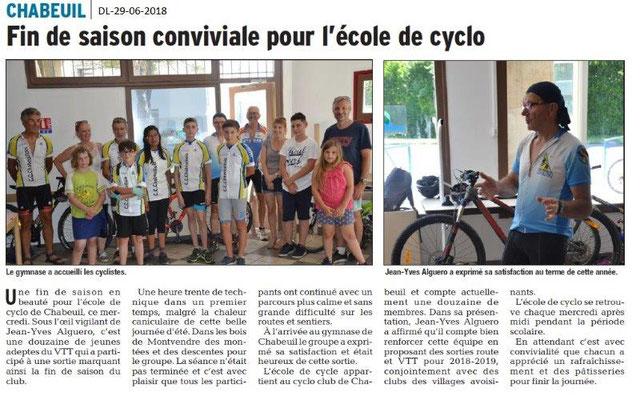 Dauphiné Libéré du 29-06-2018- Cyclo club Chabeuil