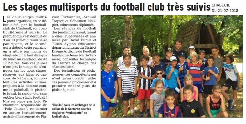 Dauphiné Libéré du 21-07-2018- Stages  Multisports du Football club de à Chabeuil