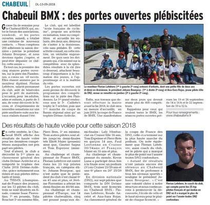 Dauphiné Libéré du 13-09-2018- BMX Chabeuil