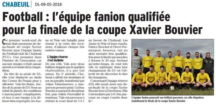 Dauphiné Libéré du 09-5-2018- Foot équipe Fanion- Chabeuil