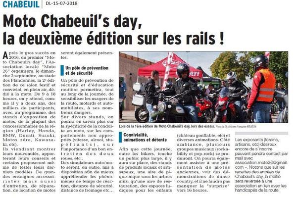 Dauphiné Libéré du 15-07-2018- Moto Chabeuil's day