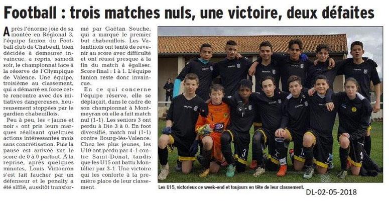 Dauphiné Libéré du 02-05-2018-Football-Chabeuil