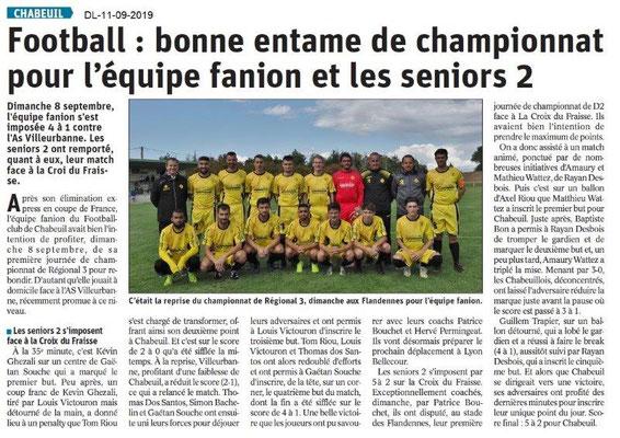 Dauphiné Libéré du 11-09-2019- Foot de Chabeuil