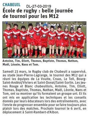 Le Dauphiné Libéré du 27-03-2019- Ecole de rugby
