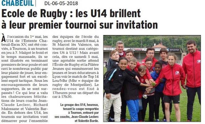 Dauphiné Libéré du 06-05-2018- Ecole de Rugby- Chabeuil