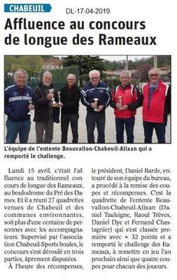 Dauphiné Libéré du 17-04-2019- Pétanque Quadrettes