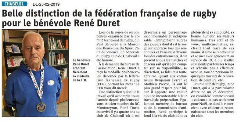 Le Dauphiné Libéré du 25-02-2019 Bénévole Rugby