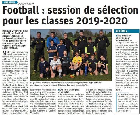 Le Dauphiné Libéré du 02-03-2019- Foot session de sélection à Chabeuil
