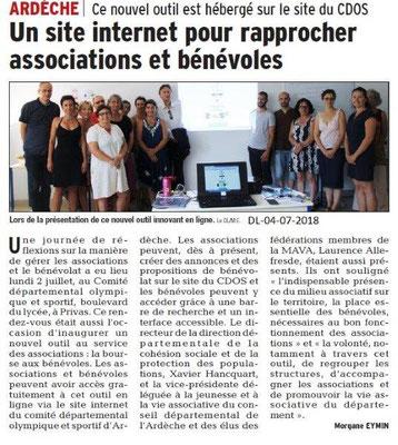 Dauphiné libéré du 04-07-2018- CDOS 07 site dédié aux associations et bénévoles
