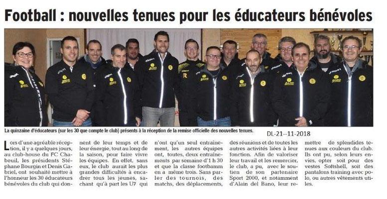 Dauphiné Libéré du 21-11-2018- Bénévoles du Foot Chabeuil