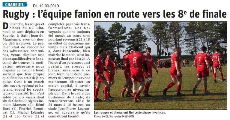 Le Dauphiné Libéré du 12-03-2019- Rugby