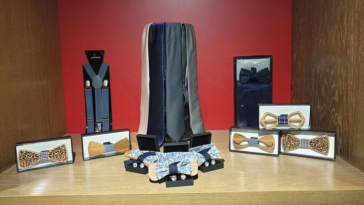 Cravattes - Noeuds papillons - Bretelles - ceintures - Boutons de manchettes