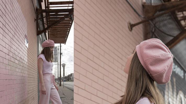 Baske cord, rosé, Silvia Bundschuh Hutdesign, Hamburg, Winterkollektion 2020, Baskenmütze