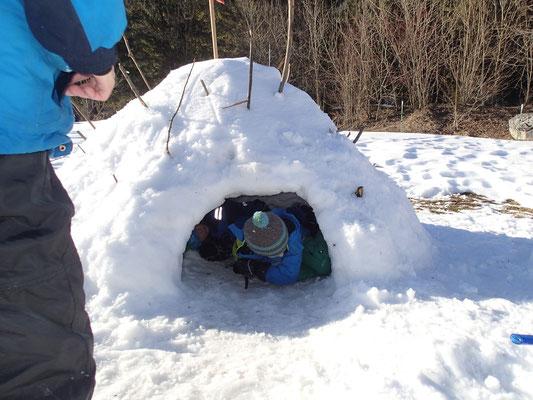 alle zusammen bauen eine Schneehöhle
