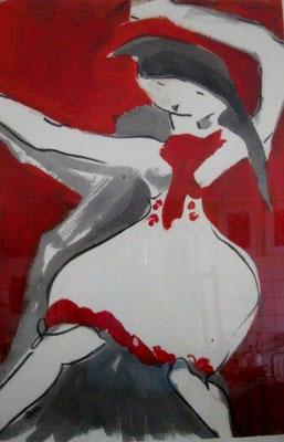 Die Tanzmaus / Acryl auf Papier / 100 x 70 cm