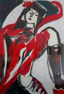 Die Temperamentvolle / Acryl auf Papier / 100 x 70 cm