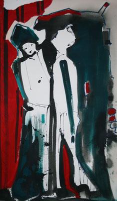 Der Hochnäsige / Acryl auf Papier / 100 x 70 cm