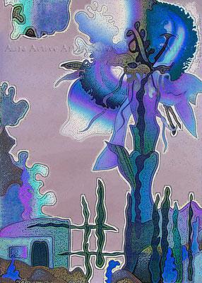 Die Blaue Blume  50x70 cm