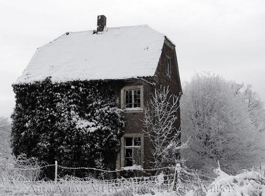 Ruine im Schnee / stand bei Gut Forstmannshof - vu  115x85 cm