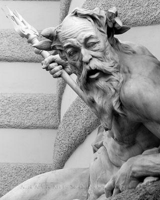 Poseidons Erstaunen mit Dreizack - Wien  40x50 cm