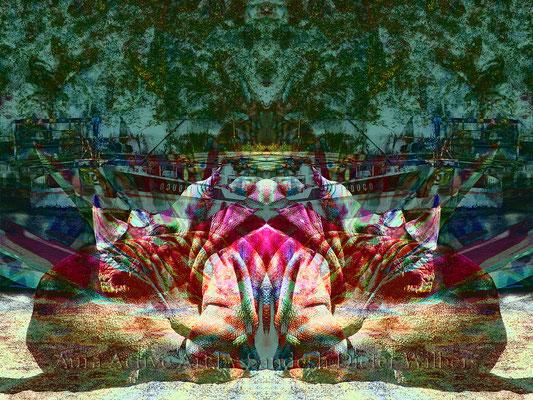 098 Psychedelisches Nashorn träumt HF Neu 2  80x60 cm