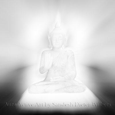 Buddha Licht sw  120x120 cm - oder kleiner