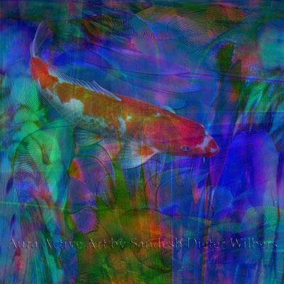 Koi in Arafedern  60x60 cm