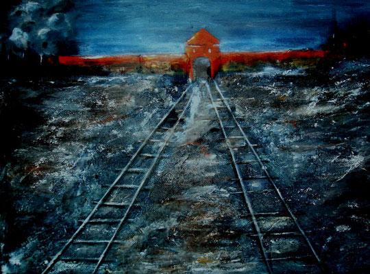 der Tod fuhr mit, Acryl auf strukturierter Leinwand/KR, 70 x 50 cm