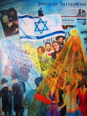 Judentum im Umbruch, Collage mit Acryl auf Leinwand/KR, 60 x 80 cm