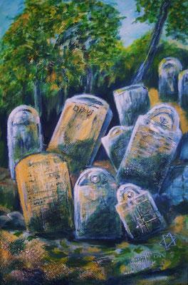 ruhet in Frieden, Acryl auf collagierter Leinwand/KR, 40 x 60 cm