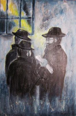 Rabbiner unter sich, Acryl auf strukturierter Leinwand/KR, 40 x 60 cm