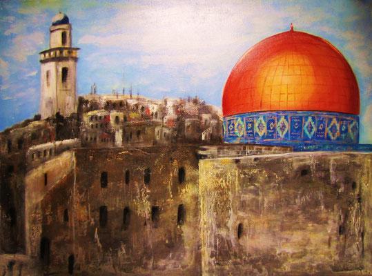Jerusalem, Acryl auf strukturierter Leinwand/KR, 80 x 60 cm