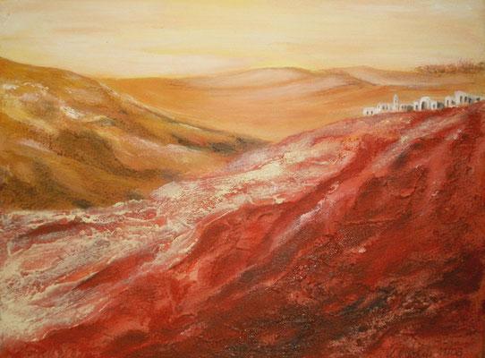 Wüste Judäa, Mischtechnik auf Leinwand/KR, 40 x 30 cm