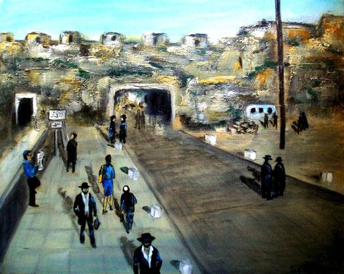 Altstadt von Jerusalem, Acryl auf strukturierter Leinwand mit KR, 50 x 40 cm