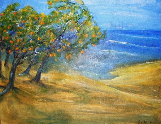 Orangenhaine bei Jaffa, Acryl auf strukturierter Leinwand/KR, 50 x 40 cm