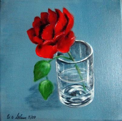 rote Rose, Acryl auf LW/KR, 20 x 20 cm