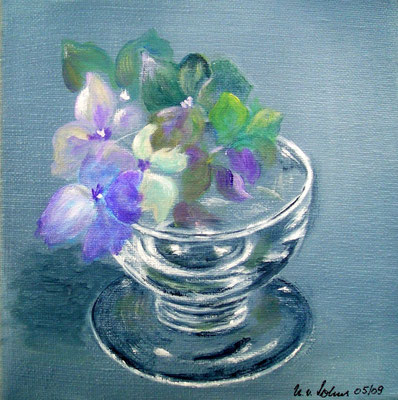 Hortensien im Glas, Acryl auf LW/KR, 20 x 20 cm