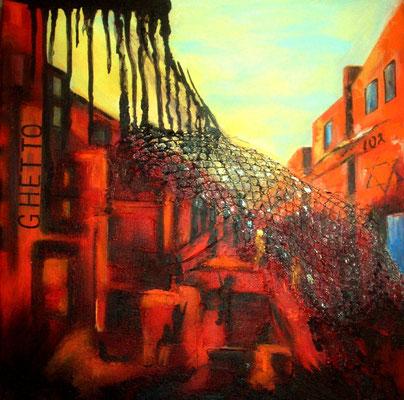 Ghetto, Acryl auf collagierter Leinwand/KR, 40 x 40 cm
