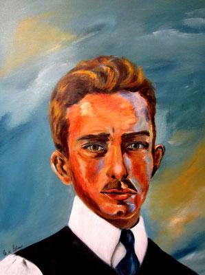 Ablert Weisgerber, Portrait 2, Acryl auf LW/KR, 40 x 50 cm