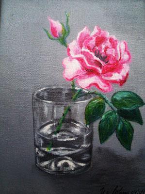 rosa Rose, Acryl auf LW/KR, 18 x 24 cm
