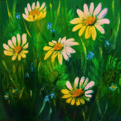 Wiesenblumen 2011, Acryl auf LW/KR, 20 x 20 cm