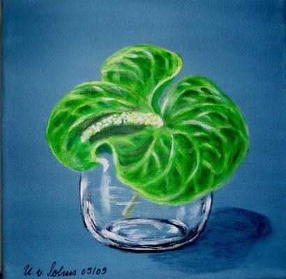 Anthurie, Acryl auf LW/KR, 20 x 20 cm