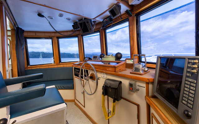 Bridge of the ship Seahunter in Cocos Island, ©Unterseahunter Group