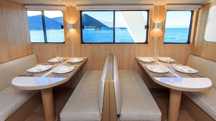Table in the dining area of the boat for the Galapagos Dive Expedition