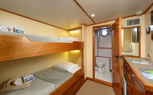 Cabins twin bed of the ship Seahunter in Cocos Island, ©Unterseahunter Group